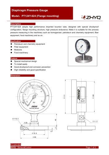 ZHYQ PT124Y-624 diaphragm pressure gauge for homogenizer machine