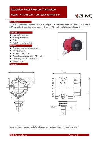 ZHYQ Standard explosion proof pressure transmitter PT124B-281 for pressure measurement in hazardous area