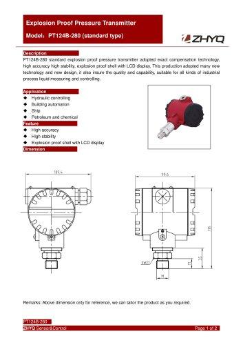 ZHYQ Standard expolsion proof pressure transmitter PT124B-280 for pressure measurement in hazardous locations