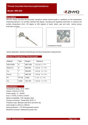 ZHYQ WR-201 Temperature Transmitter for Industrial Temperature Measurement