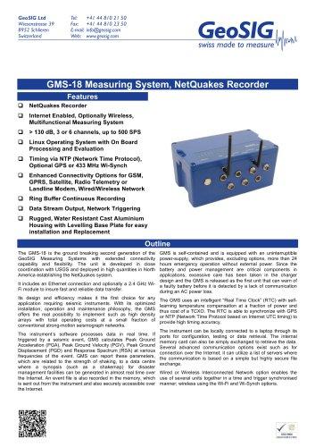 GMS - 18 Measuring System, NetQuakes Recorde