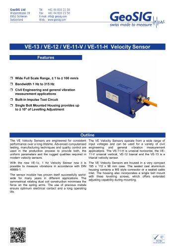 VE-13 / VE-12 / VE-11-V / VE-11-H Velocity Sensor