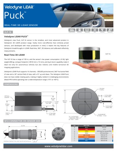 VLP-16 Datasheets - Velodynelidar - PDF Catalogs   Technical