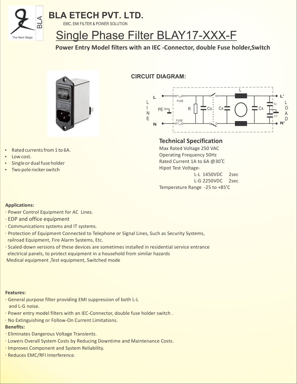 Bla Y17 Xxx F Blaetech Pvt Ltd Pdf Catalogue Technical L Filter Circuit Diagram 1 4 Pages