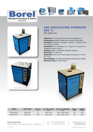Air Circulating Furnaces 650 °C - PO 650 P-1