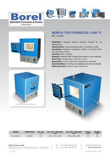 Bench-Top Furnace 1100°C - RI 1100