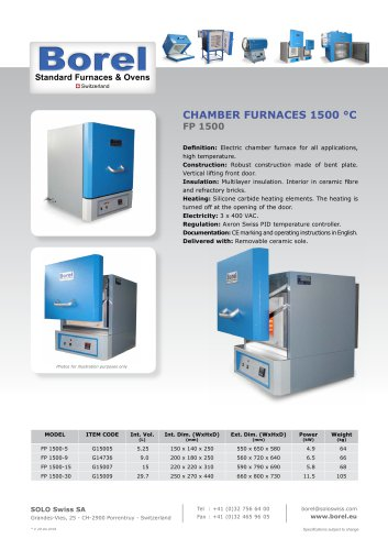 Chamber furnace 1500 °C - FP 1500