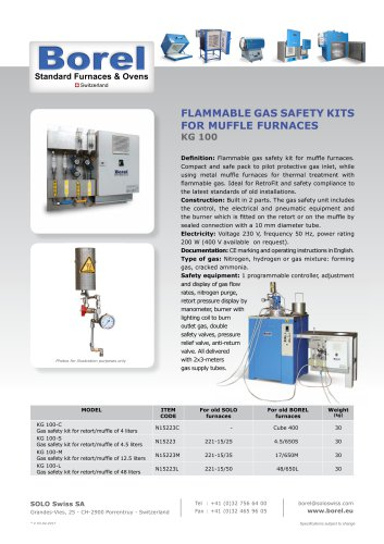 Flammable Gas safety kits for muffle Furnaces - KG 100