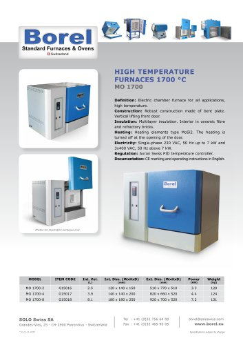 High Temperature Furnaces 1700°C - MO 1700