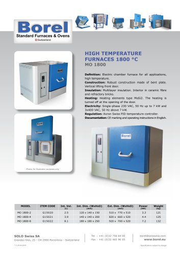 High Temperature Furnaces 1800°C - MO 1800