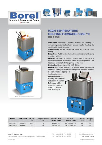 High Temperature Melting Furnaces 1350°C - RH 1350
