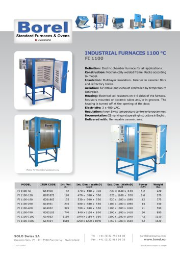 Industrial furnaces 1100 °C - FI 1000