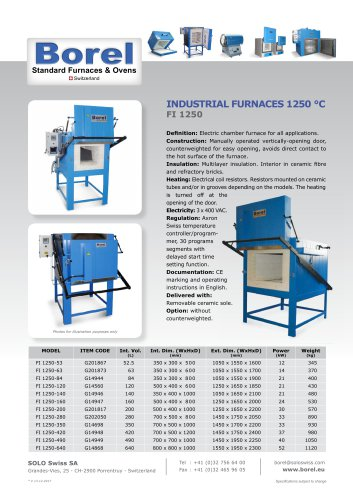 Industrial furnaces 1250 °C - FI 1250