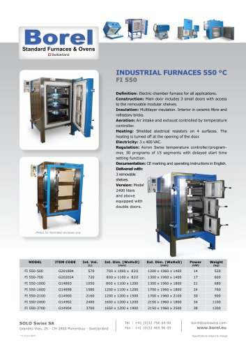 Industrial Furnaces 550 °C - FI 550 - Volume of 570 to 3,700 litres