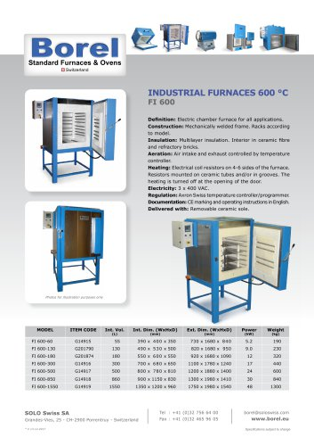 Industrial Furnaces 600 °C - FI 600