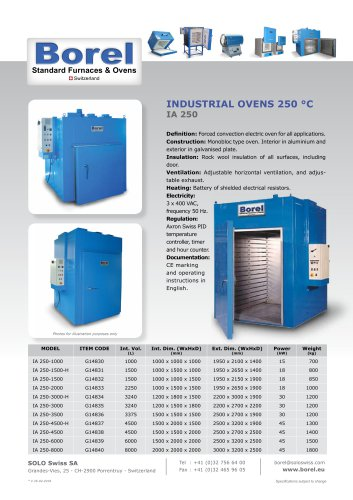 Industrial Ovens, 250°C - IA 250
