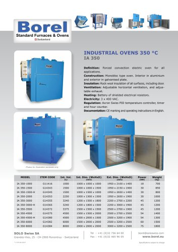 Industrial Ovens, 350 °C - IA 350