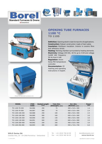 Opening Tube Furnaces 1100 °C - TO 1100