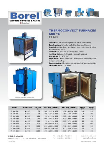 Thermoconvect Furnaces 600 °C - FT 600