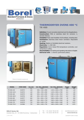 Thermodryer oven 400 °C - TR 400