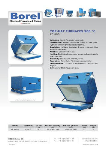 Top-Hat furnace 900 °C - FC 900