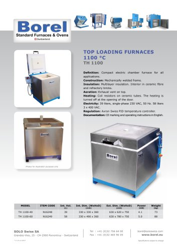 Top Loading Furnaces 1100 °C - TH 1100