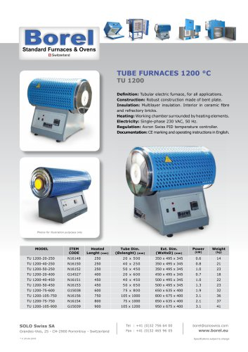 Tube Furnaces 1200 °C - TU 1200