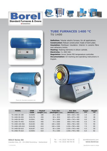 Tube Furnaces 1400 °C - TU 1400