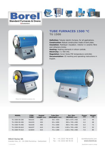 Tube Furnaces 1500 °C - TU 1500