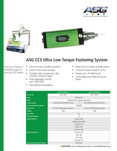 ASG CCS Ultra Low Torque Fastening System