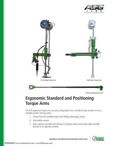 Ergonomic Standard and Positioning Torque Arms