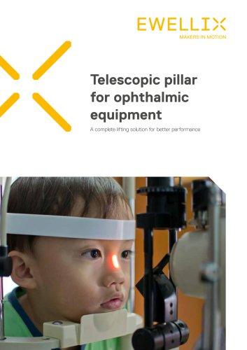 Telescopic pillar for ophthalmic equipment