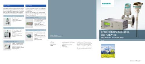 Process Instrumentation and Analytics : Make optimal use of renewable energy