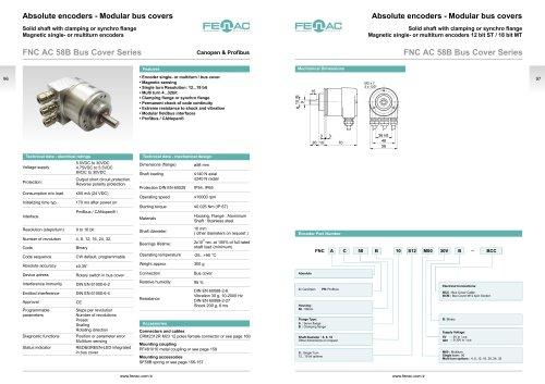 Absolute encoders - Modular bus covers