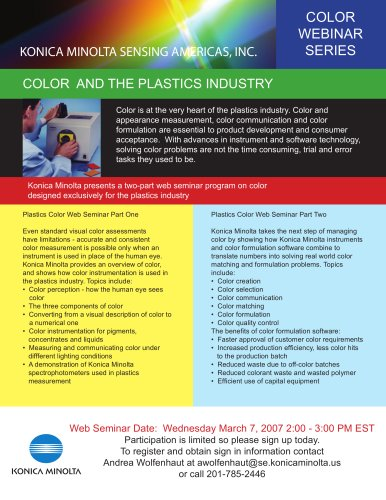 Complimentary webinar on measuring the color of Plastics