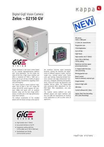 Kappa High definition camera with GigE Vision interface