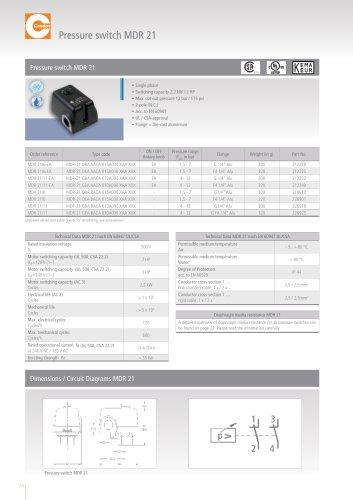 Pressure switch MDR 21