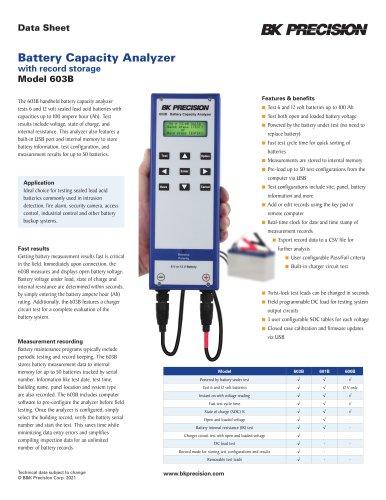 6V & 12V Battery Capacity Analyzer with record storage Model 603B