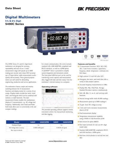 Digital Multimeters 5½ & 6½ Digit 5490C Series