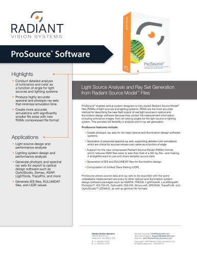 ProSource® Light Source Analysis and Ray Set Generation Software