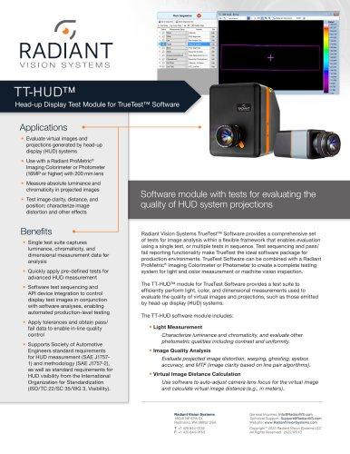 TT-HUD™ Head-Up Display Test Software