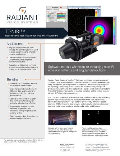 TT-NIRI™ Near-Infrared Light Source Measurement Software