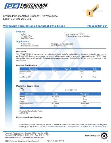 6 Watts Instrumentation Grade WR-42 Waveguide  Load 18 GHz to 26.5 GHz
