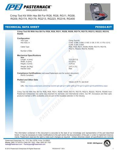 Crimp Tool Kit With Hex Bit For RG6, RG8, RG11, RG58,  RG59, RG174, RG179, RG213, RG223, RG316, RG400