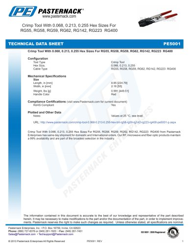 Crimp Tool With 0.068, 0.213, 0.255 Hex Sizes For  RG55, RG58, RG59, RG62, RG142, RG223  RG400