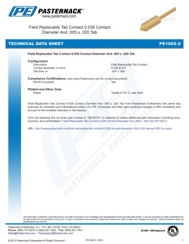 Field Replacable Tab Contact 0.036 Contact  Diameter And .005 x .020 Tab