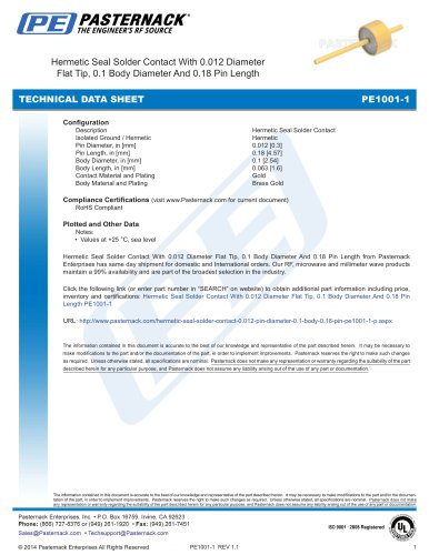 Hermetic Seal Solder Contact With 0.012 Diameter  Flat Tip, 0.1 Body Diameter And 0.18 Pin Length