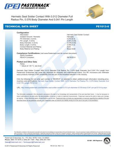 Hermetic Seal Solder Contact With 0.012 Diameter Full  Radius Pin, 0.076 Body Diameter And 0.041 Pin Length