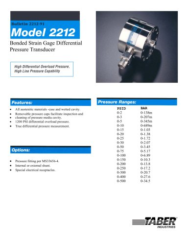Differential Pressure Measurement Model 2212