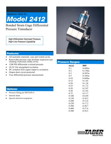 Differential Pressure Measurement Model2412